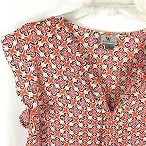 Orange Purple black white flutter sleeve blouse